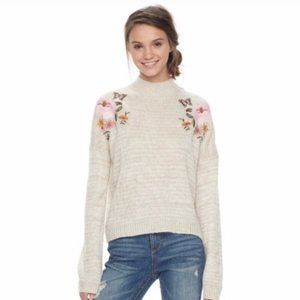 Mock Neck Tan Embroidered Sweater
